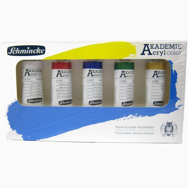Schmincke Akademie Acryl  Karton-Set  5 x  60 ml  76 723 097 Malkasten ***